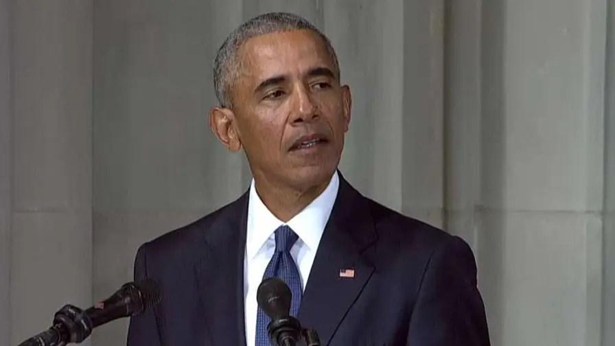 Former President Barack Obama speaks at the funeral service for Sen. John McCain at Washington National Cathedral in Washington, D.C.