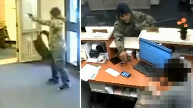 Armed suspect fires shots in violent bank robbery caught on surveillance camera