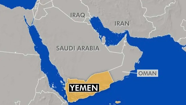 Map of location of Yemen