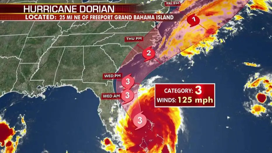 25 million Americans are feared to be in Hurricane Dorian's projected path