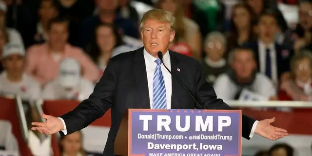 Dec. 5, 2015: Republican presidential candidate Donald Trump speaks during a campaign rally in Davenport, Iowa.