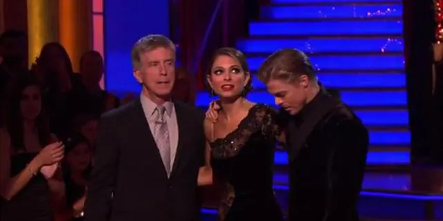 Maria Menounos and 'DWTS' partner Derek Hough with host Tom Bergeron.