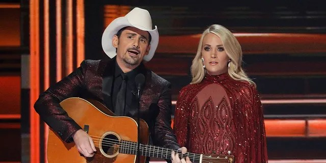 Brad Paisley and Carrie Underwood during the 2017 CMAs.