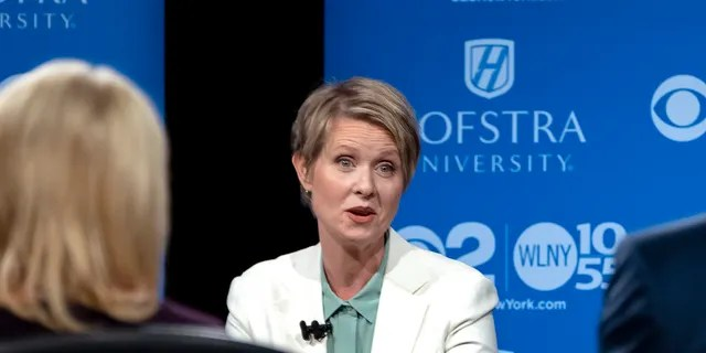 Former Democratic New York gubernatorial candidate Cynthia Nixon answers a question during a gubernatorial debate with New York Gov. Andrew Cuomo.