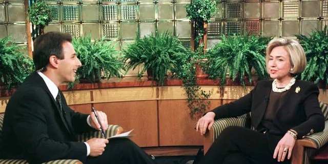 """Then-first lady Hillary Clinton spoke with Matt Lauer during an interview on NBC's """"Today."""""""