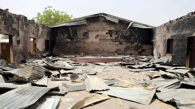 General view of a church that residents say was burned by Boko Haram militants is seen in Damasak March 24, 2015. Boko Haram militants have kidnapped more than 400 women and children from the northern Nigerian town of Damasak that was freed this month by troops from Niger and Chad, residents said on Tuesday.
