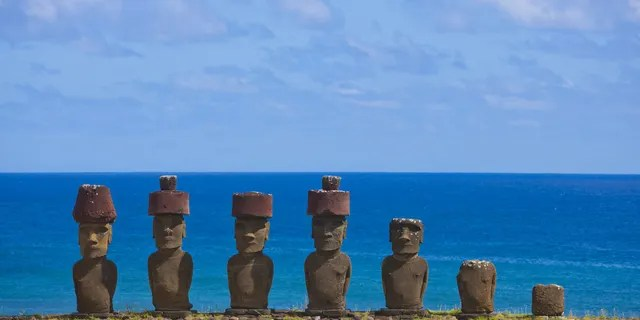 File photo - Statues at Anakena Beach, Easter Island, Chile.
