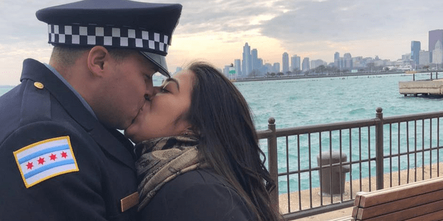 Chicago police Officer Samuel Jimenez, who was slain Monday, married his high school sweetheart, Crystal Garcia, last December. (Facebook)