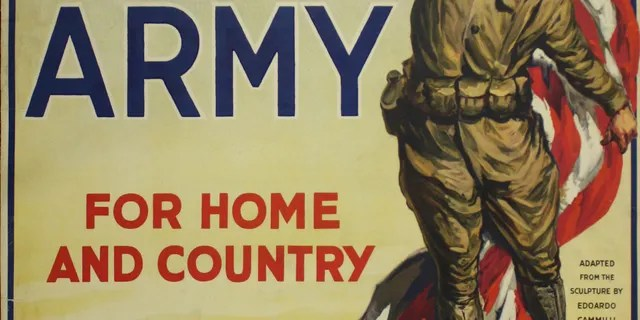 Recruitment poster of the American army of the First World War (Museum and National Memorial of the First World War)