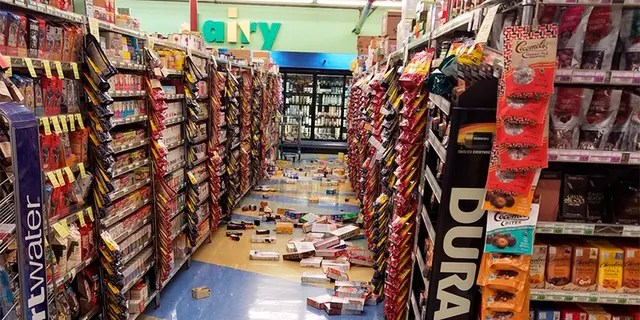 This photo provided by David Harper shows merchandise that fell off the shelves during an earthquake at a store in Anchorage, Alaska, on Friday.