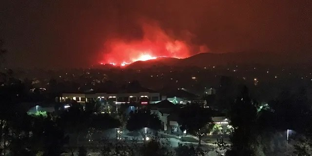 The Hill wildfire burns in the predawn hours of Friday, Nov. 9, 2018.