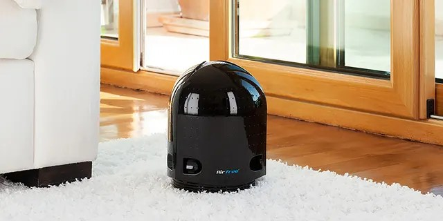 Hammacher's Air Purifier is a filter-free device that uses natural convection to draw in contaminated air to destroy the germs and other impurities with 400 degrees of heat.