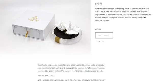 The tissues are created by companyVaevand sold online for a steep $79.99
