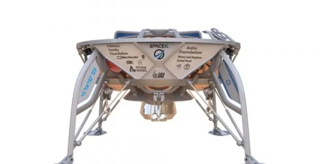 Un rendering di Beresheet che conduce la sua missione scientifica per misurare il campo magnetico della Luna.