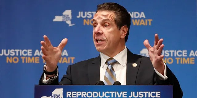 New York Governor Andrew Cuomo, gestures as he speaks, Monday, Jan. 7, 2019, at Barnard College in New York, where he called for codifying abortion rights into New York State law. (AP Photo/Kathy Willens)