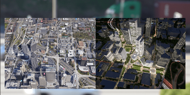 """Project officials aim to """"stitch"""" downtown Atlanta and surrounding areas together with a deck park covering a section of I-75/I-85."""