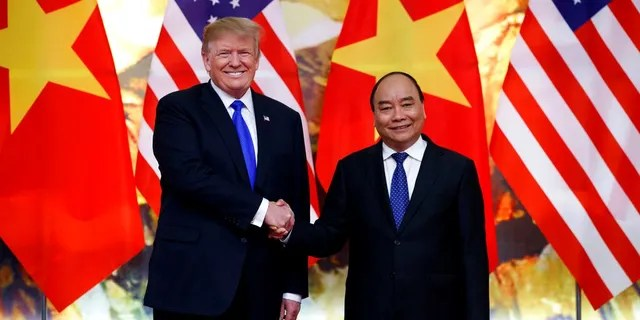 President Donald Trump meets with Vietnamese Prime Minister Nguyen Xuan Phuc at the Office of Government Hall.