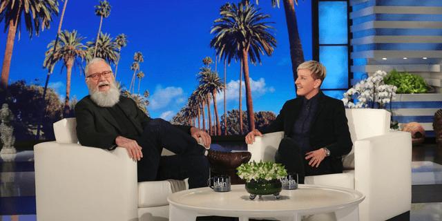 David Letterman with host Ellen DeGeneres during a taping of 'The Ellen DeGeneres Show' in Los Angeles.