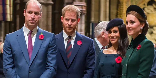 Prince William, Duke of Cambridge and Catherine, Duchess of Cambridge, Prince Harry, Duke of Sussex and Meghan, Duchess of Sussex attend a service marking the centenary of WW1 armistice at Westminster Abbey on November 11, 2018 in London.