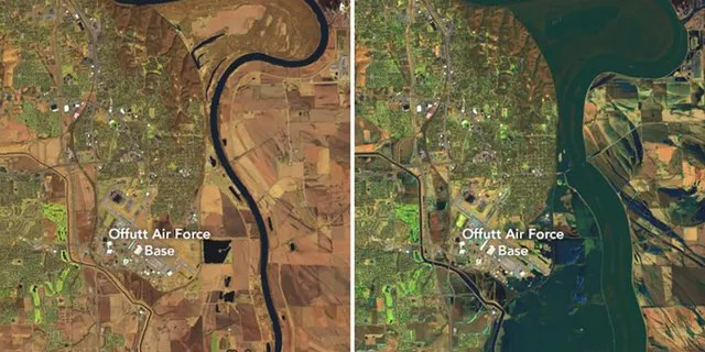 A before and after comparison to show the scope of the flooding in Nebraska.