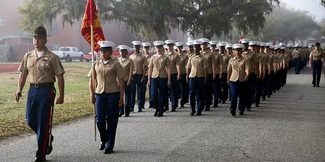 Marines with the mixed-gender India Company, 3rd Recruit Training Battalion at Marine Corps Recruit Depot Parris Island in South Carolina.