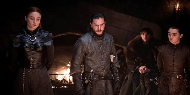"""Sophie Turner, Kit Harington, Isaac Hempstead Wright and Maisie Williams in a scene from """"Game of Thrones."""""""