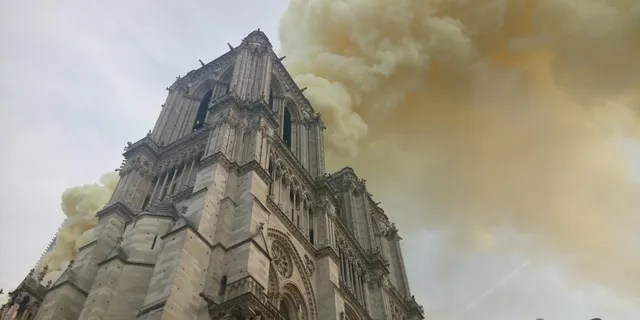 A fire broke out at Notre Dame cathedral in Paris.