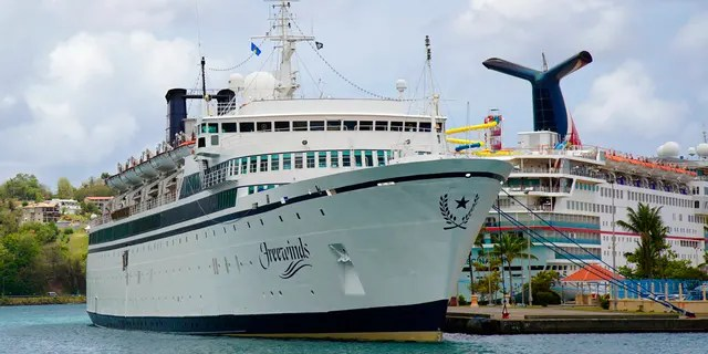 The Freewinds cruise ship is moored in the port of Castries, the capital of St. Lucia, on Thursday 2 May 2019.