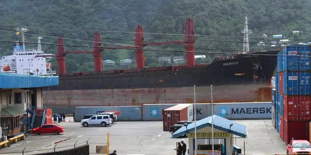 A view from the top of a two story building in Fagatogo village overlooking the Port of Pago Pago, as the North Korean cargo ship, Wise Honest, docks at the main docking section of Pago Pago Harbor, Saturday, May 11, 2019, in Pago Pago, American Samoa.