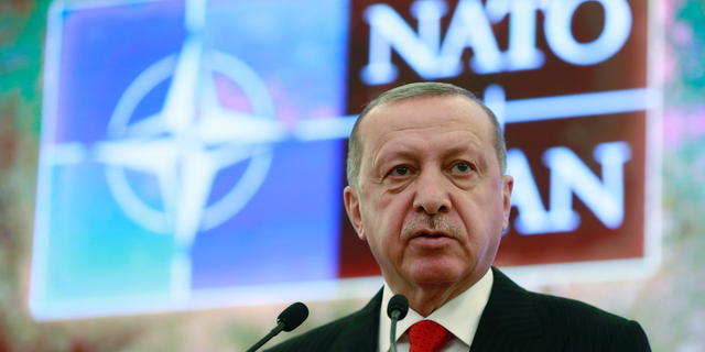 Turkey's President Recep Tayyip Erdogan addresses a meeting of the NATO's Mediterranean Dialogue, in Ankara, Turkey, Monday, May 6, 2019. (Presidential Press Service via AP, Pool)