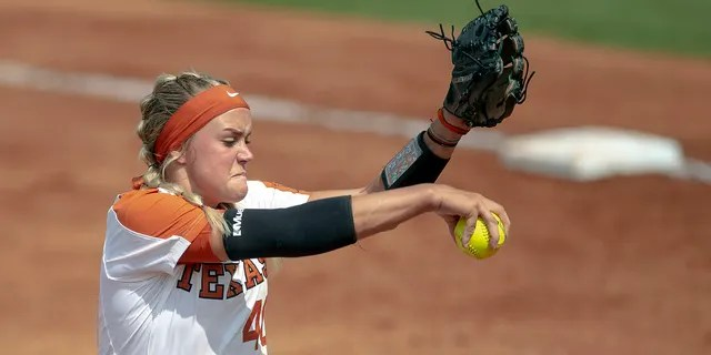 Texas pitcher Miranda Elish (40) prepares to throw a pitch against Houston during an NCAA college softball tournament Austin Regional game Sunday, May 19, 2019, in Austin, Texas. (Associated Press)