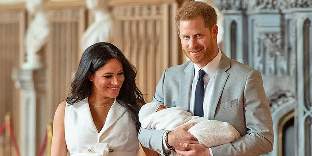 Meghan Markle and Prince Harry proudly display their son, Archie Harrison. The royal baby was born May 6.