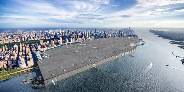 A rendering of how the Midtown Manhattan Airport would look today. (Barratt Homes)