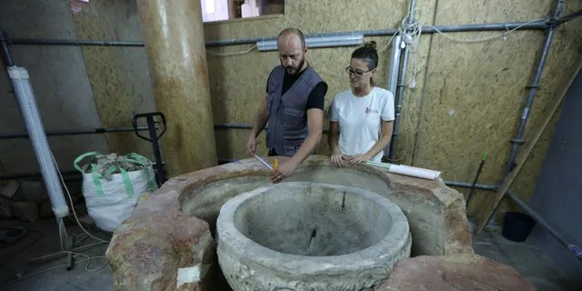 The baptismal font was discovered during restoration work at the Church of the Nativity.