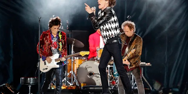 """Ronnie Wood, Mick Jagger and Keith Richards of the Rolling Stones perform as they resume their """"No Filter Tour"""" North American Tour at the Soldier Field on June 21, 2019 in Chicago. The tour had been postponed while Jagger recovered from heart surgery."""
