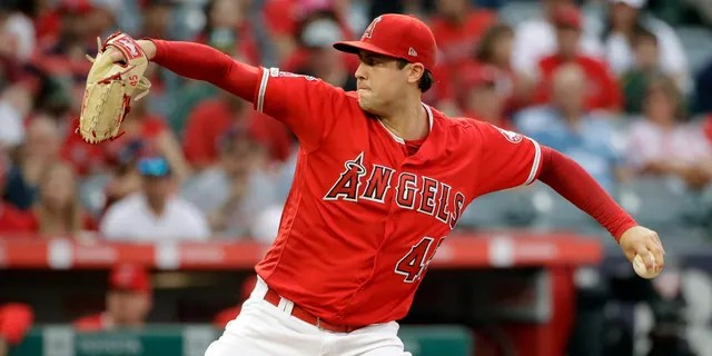 Los Angeles Angels starting pitcher Tyler Skaggs throws to the Oakland Athletics during the first inning of a baseball game Saturday, June 29, 2019, in Anaheim, Calif.