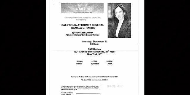 Invitation to a fundraiser for Kamala Harris' re-election campaign as California attorney general in 2011.