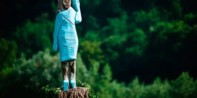 The original wooden statue of Melania Trump is seen near her hometown in Slovenia before it was damaged in July.(Photo credit should read JURE MAKOVEC/AFP/Getty Images)
