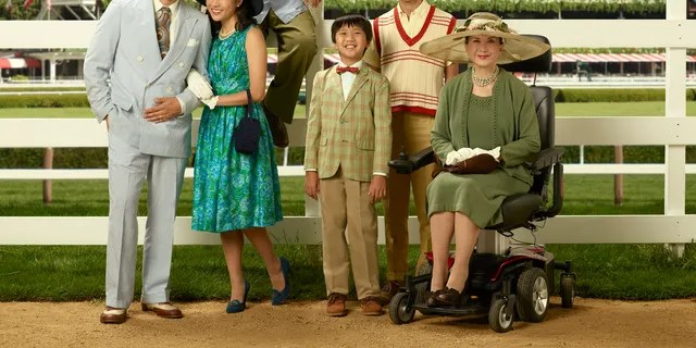 """ABC's """"Fresh Off the Boat"""" stars Randall Park as Louis Huang, Constance Wu as Jessica Huang, Hudson Yang as Eddie Huang, Ian Chen as Evan Huang, Forrest Wheeler as Emery Huang and Lucille Soong as Grandma Huang. (ABC/Bob D'Amico)"""