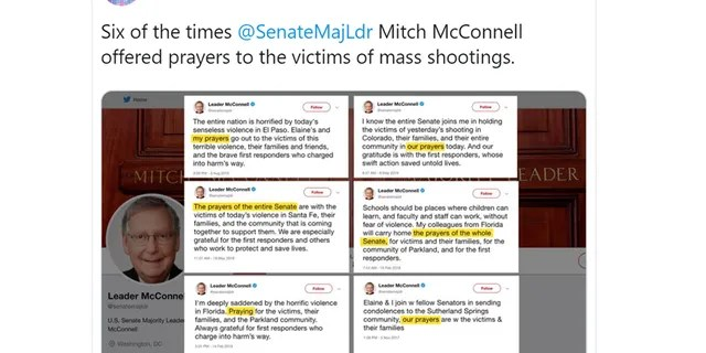 CNN's Brian Stelter criticized McConnell for offering prayers after recent mass shootings.