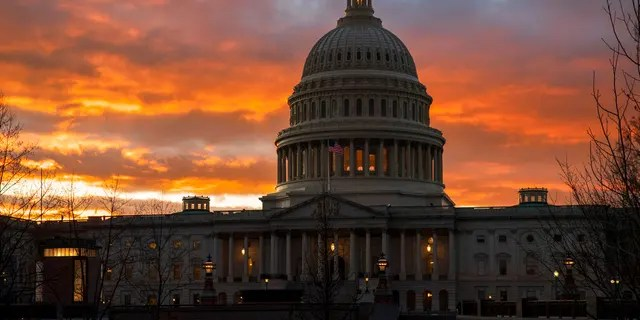 ​​​​​​​The U.S. Capitol is seen at sunset in Washington, Jan. 24, 2019. Senate Majority Leader Mitch McConnell, R-Ky., appears to have the votes to end the trial against President Trump. (Associated Press)