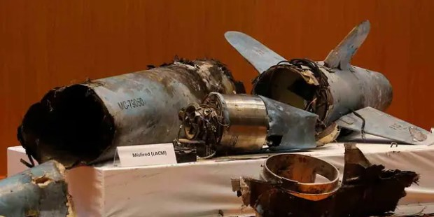 Remains of what was described as a misfired Iranian cruise missile used in an attack this weekend that targeted the heart of Saudi Arabia's oil industry, is displayed during a press conference by Saudi military spokesman Col. Turki al-Malki, in Riyadh, Saudi Arabia, Wednesday, Sept. 18, 2019. Though Yemen's Houthi rebels claimed the assault, the U.S. alleges Iran was behind it. (AP Photo/Amr Nabil)