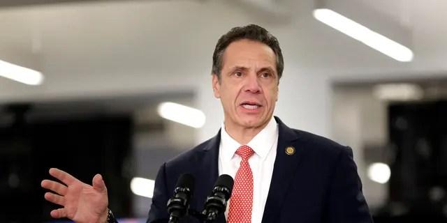 FILE - In this Feb. 14, 2019, file photo, Gov. Andrew Cuomo addresses the media in New York. (AP Photo/Seth Wenig, File)