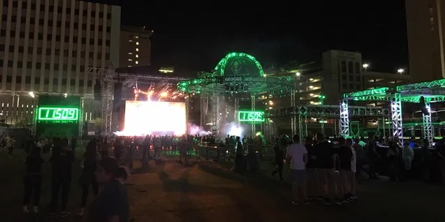 """The relocated """"Alienstock,"""" dubbed the Bud Light Area 51 Celebration, in downtown Las Vegas on Sept. 19, 2019."""