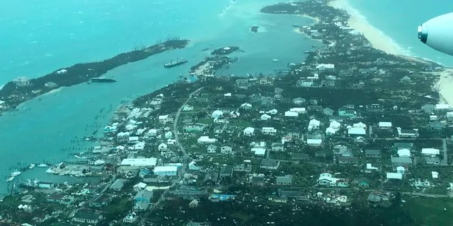 This aerial photo provided by Medic Corps shows the destruction brought by Hurricane Dorian on Man-o-War Cay, Bahamas, Tuesday, Sept. 3, 2019.