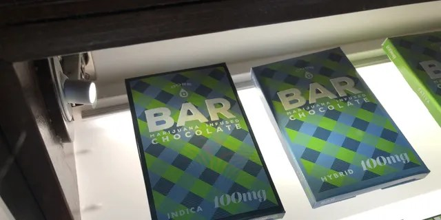 A chocolate bar infused with 100mg of THC for sale at a marijuana shop in Boston.