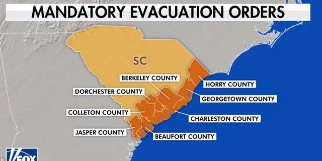 Mandatory evacuation orders have been issued in coastal South Carolina ahead of Hurricane Dorian.