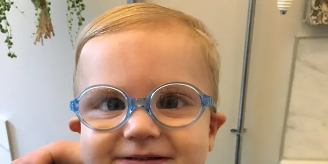 Theo with his new glasses.