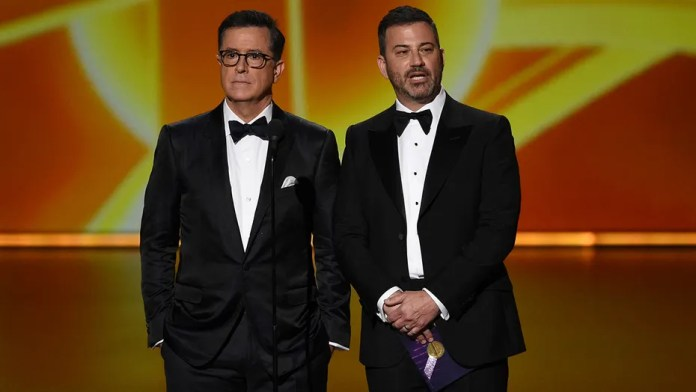 Image result for Stephen Colbert and Jimmy Kimmel Emmys