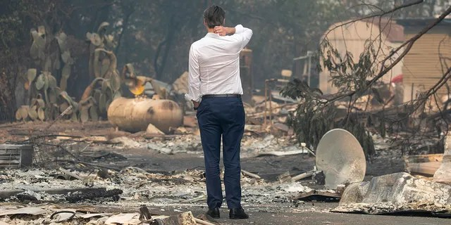 GEYSERVILLE, CA - OCT. 25: Gov. Gavin Newsom surveys a home destroyed in the Kincade Fire, Friday, Oct. 25, 2019, in Geyserville, Calif. (Karl Mondon/MediaNews Group/The Mercury News via Getty Images)